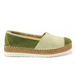 Дамски ортопедични еспадрили от естествен набук SOFTMODE Jasmin зелен | Равни дамски обувки