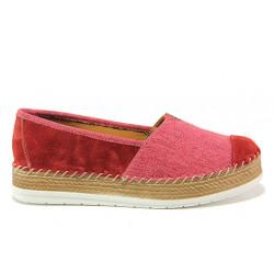 Дамски ортопедични еспадрили от естествен набук SOFTMODE Jasmin червен | Равни дамски обувки