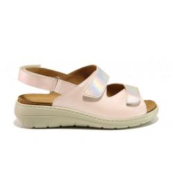 Дамски ортопедични сандали от естествена кожа SOFTMODE 2164 Sara розов   Равни дамски сандали