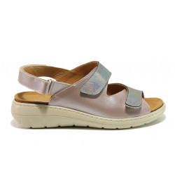 Дамски ортопедични сандали от естествена кожа SOFTMODE 2164 Sara розов-сребро | Равни дамски сандали