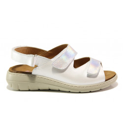 Дамски ортопедични сандали от естествена кожа SOFTMODE 2164 Sara бял | Равни дамски сандали