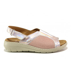 Дамски ортопедични сандали от естествена кожа SOFTMODE 2169 Naomi розов | Равни дамски сандали