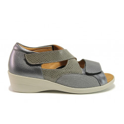 Дамски ортопедични сандали от естествена кожа SOFTMODE 6928 Anna сив-змия | Дамски сандали на платформа