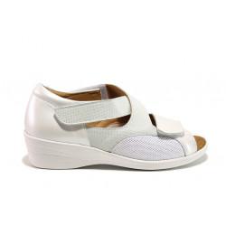 Дамски ортопедични сандали от естествена кожа SOFTMODE 6928 Anna бял | Дамски сандали на платформа