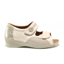 Дамски ортопедични сандали от естествена кожа SOFTMODE 6957 Stacey бежов | Дамски сандали на платформа