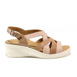 Дамски ортопедични сандали от естествена кожа SOFTMODE 1365801 Margot розов | Дамски сандали на платформа