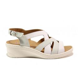 Дамски ортопедични сандали от естествена кожа SOFTMODE 1365801 Margot бял | Дамски сандали на платформа