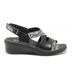 Дамски ортопедични сандали от естествена кожа SOFTMODE 1365802 Maddie черен | Дамски сандали на платформа