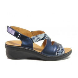 Дамски ортопедични сандали от естествена кожа SOFTMODE 1365802 Maddie син   Дамски сандали на платформа