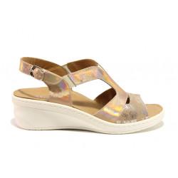 Дамски ортопедични сандали от естествена кожа SOFTMODE 1365803 Maeve бронз | Дамски сандали на платформа