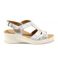 Дамски ортопедични сандали от естествена кожа SOFTMODE 1365803 Maeve сребро | Дамски сандали на платформа