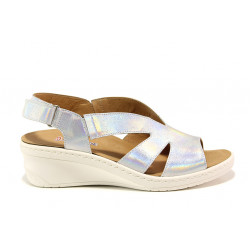 Дамски ортопедични сандали от естествена кожа SOFTMODE 1365804 Macy сребро | Дамски сандали на платформа