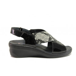 Дамски ортопедични сандали от естествена кожа-лак SOFTMODE 1365805 Maisie черен | Дамски сандали на платформа