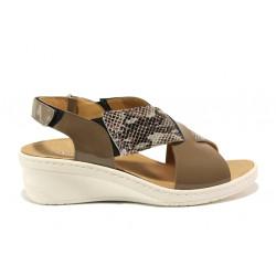 Дамски ортопедични сандали от естествена кожа-лак SOFTMODE 1365805 Maisie визон | Дамски сандали на платформа