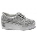Анатомически дамски обувки от естествена кожа МИ 808-070 сребро | Дамски обувки на платформа