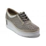Анатомически дамски обувки от естествена кожа МИ 808-069 злато | Дамски обувки на платформа