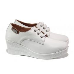 Анатомични дамски обувки от естествена кожа МИ 130 бял | Дамски обувки на платформа