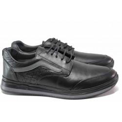 Анатомични мъжки спортни обувки от естествена кожа ТЯ 1020 черен | Мъжки ежедневни обувки