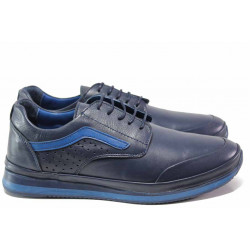 Анатомични мъжки спортни обувки от естествена кожа ТЯ 1020 син | Мъжки ежедневни обувки