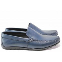 Анатомични мъжки мокасини от естествена кожа ТЯ 3404 син | Мъжки ежедневни обувки