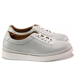 Анатомични дамски обувки от естествена кожа ТЯ 3001 бял сатен | Равни дамски обувки