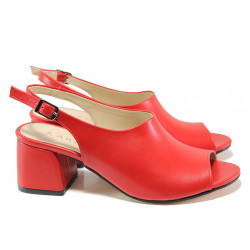 Комфортни дамски сандали на среден ток ТЯ 2034 червен | Дамски сандали на ток