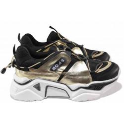 Модерни дамски маратонки с връзки ТЯ 4409 черен-златен | Дамски маратонки