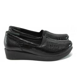 Дамски ортопедични обувки от естествена кожа-лак МИ 012 черен кроко-гигант | Обувки на платформа