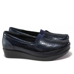 Дамски ортопедични обувки от естествена кожа-лак МИ 012 син кроко | Обувки на платформа