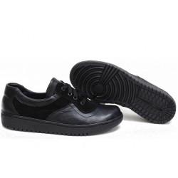 Анатомични български обувки от естествена кожа НЛМ 131-1608 черен кожа-велур | Равни дамски обувки