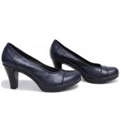 Анатомични български обувки от естествена кожа НЛМ 140-6843 синя кожа | Дамски обувки на висок ток