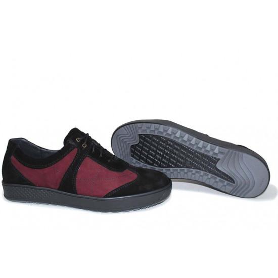 Анатомични български обувки от естествен набук НЛМ 162-367 бордо-черен | Ежедневни мъжки обувки