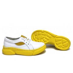 Анатомични български обувки от естествена кожа НЛМ 257-187 бял-жълт   Равни дамски обувки