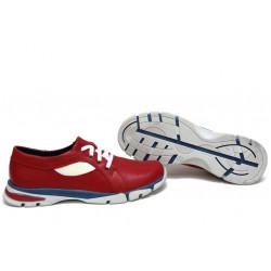 Анатомични български обувки от естествена кожа НЛМ 257-КРОС червен-бежов   Равни дамски обувки