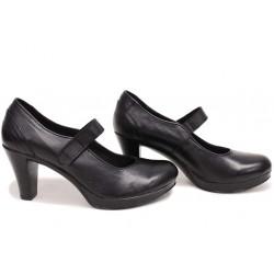 Анатомични български обувки от естествена кожа НЛМ 261-6843 черен кожа | Дамски обувки на висок ток