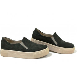 Анатомични български обувки от естествен набук НЛМ 280-192 зелен | Обувки на платформа