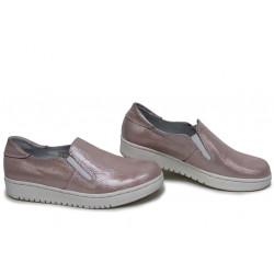 Анатомични български обувки от естествена кожа НЛМ 280-1608 розов кожа-сатен | Равни дамски обувки