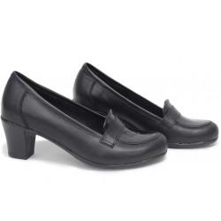 Анатомични български обувки от естествена кожа НЛМ 282-1705 черен кожа-кроко лак | Дамски обувки на среден ток
