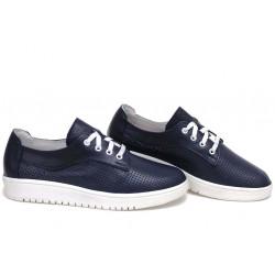 Анатомични български обувки от естествена кожа НЛМ 289-1608 син кожа-мрежа | Равни дамски обувки