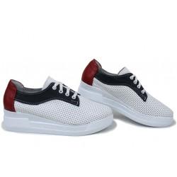 Анатомични български обувки от естествена кожа НЛМ 289-8218 бял-син-червен | Обувки на платформа