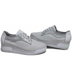 Анатомични български обувки от естествена кожа НЛМ 289-8218 бял кожа-сатен | Обувки на платформа