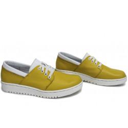 Анатомични български обувки от естествена кожа НЛМ 292-1608 жълт-бял   Равни дамски обувки