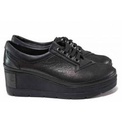 Анатомични дамски обувки от естествена кожа МИ 808-750 сив сатен   Обувки на платформа