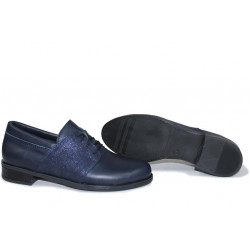 Анатомични български обувки от естествена кожа НЛМ 282-Аризона син кожа-сатен | Равни дамски обувки