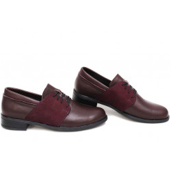 Анатомични български обувки от естествена кожа НЛМ 292-Аризона бордо кожа-набук | Равни дамски обувки