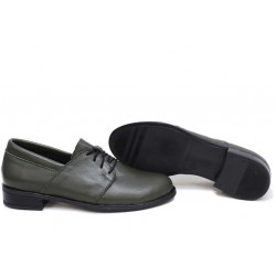 Анатомични български обувки от естествена кожа НЛМ 292-Аризона зелен | Равни дамски обувки