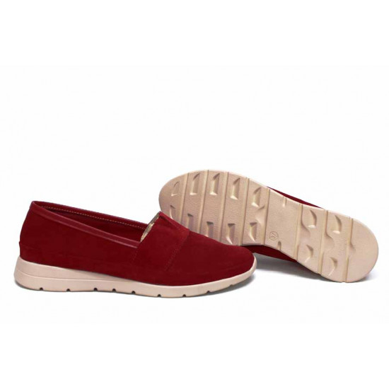 Анатомични български обувки от естествен велур НЛМ 301-171 червен   Равни дамски обувки
