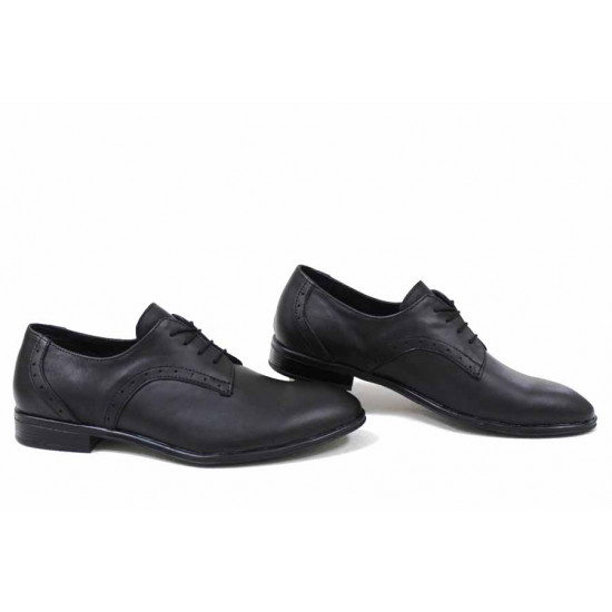 Анатомични елегантни обувки от естествена кожа НЛМ 305-Дюк черен   Мъжки официални обувки