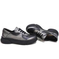 Анатомични български обувки от естествена кожа НЛМ 322-187 бакър-черен | Дамски спортни обувки
