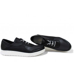 Анатомични български обувки от естествена кожа НЛМ 322-1608 черен-сив   Равни дамски обувки